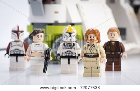 Ankara, Turkey - April 24, 2014: Lego Star Wars Republic Gunship minifigures Obi-Wan Kenobi, Anakin Skywalker, Padma Amidala, Clone Trooper Captain, Clone Trooper