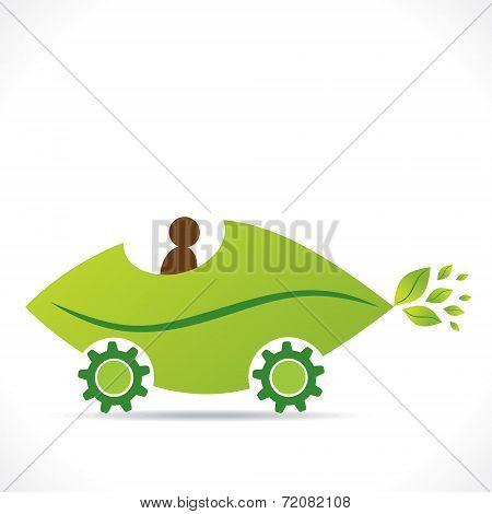 creative eco leaf car design vector