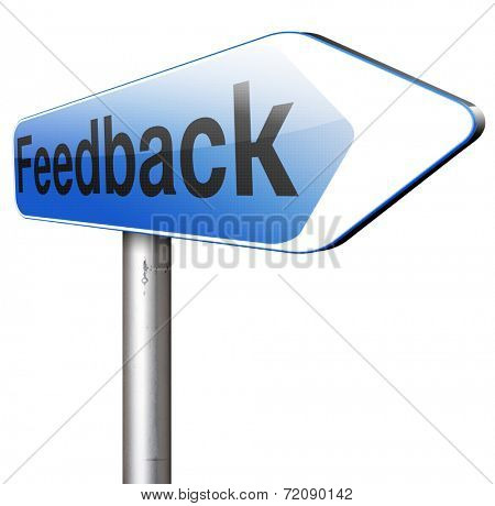 feedback, leave a comment and rate product or service. Survey for customer satisfaction. Write testimonial poster