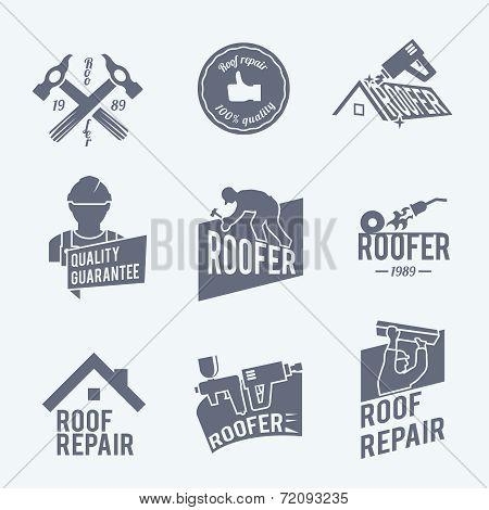 Roofer label set grey