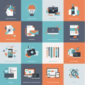 Set of flat design concept icons for website development, graphic design, branding, seo, web and mobile apps development, marketing and e-commerce poster