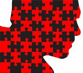 An illustration featuring a human head silhouette  with  red and black puzzle pieces poster
