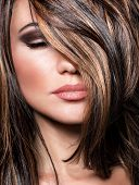 Closeup portrait of stylish gorgeous super model, beautiful makeup and glossy brown hair, luxury hairstyling salon poster
