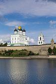 view of Krom or Kremlin in Pskov from Velikaya river Russia poster