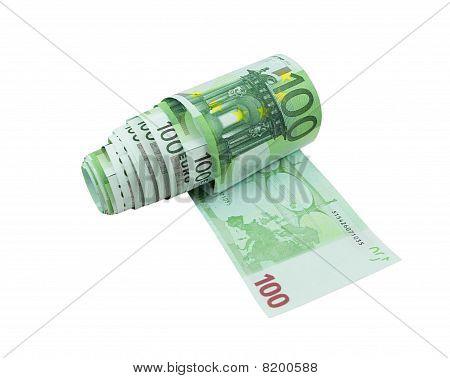 One Hundred Euro Bills Toilet Paper