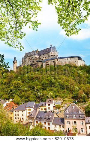 Vianden castle and village bellow