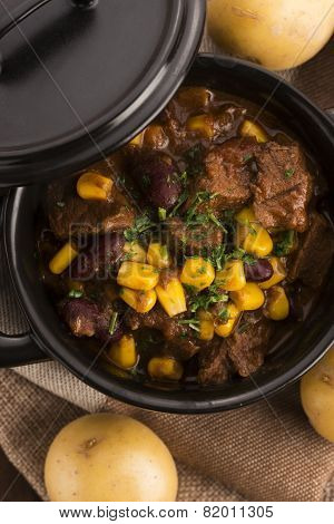 Tasty Winter Traditional Hot Pot Stew With Meat And Vegetables