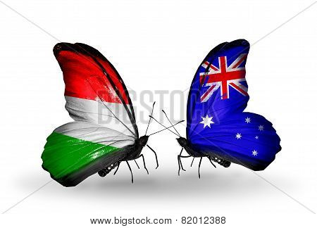 Two Butterflies With Flags On Wings As Symbol Of Relations Hungary And Australia