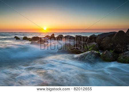 St. Augustine Florida Ocean Beach Sunrise With Crashing Waves