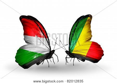 Two Butterflies With Flags On Wings As Symbol Of Relations Hungary And Kongo