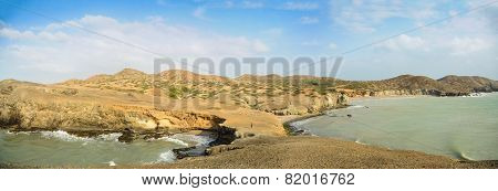 Huge Panoramic View Of Guajira Desert At Colombia. Traveling South America.