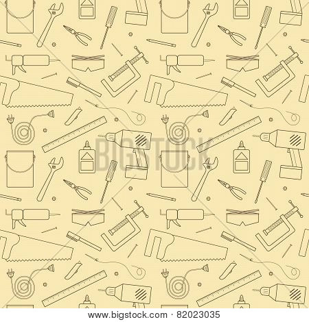 A  seamless pattern of various tools and other items found and used inside of a workshop. poster
