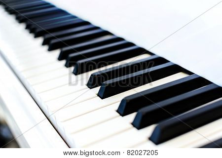 Close Up Of Piano Key On White Piano