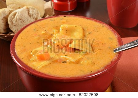 Seafood Bisque With Ravioli