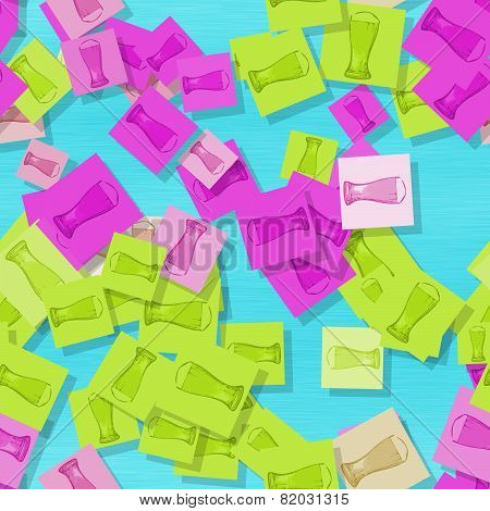 Scattered Glasses Of Beer Motif In Showy Colors