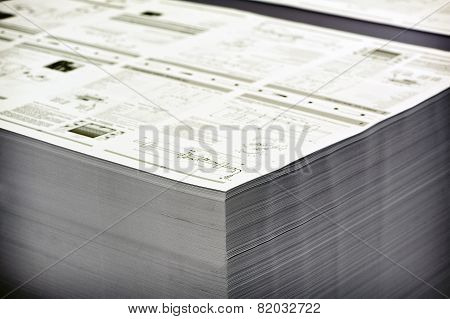 Close Up Pile Of Printed White Documents