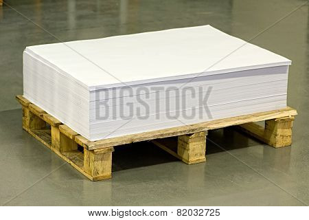 Empty White Documents On Top Of Paper Pallet