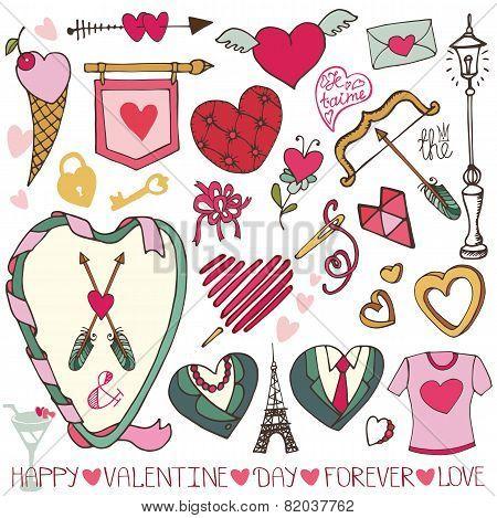 Valentine day,wedding design.Frame,hearts,love decor set.ai