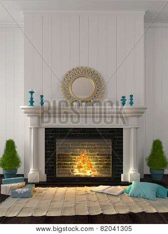 Classic Fireplace With Blue Decor