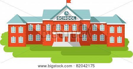 School Building In Flat Style