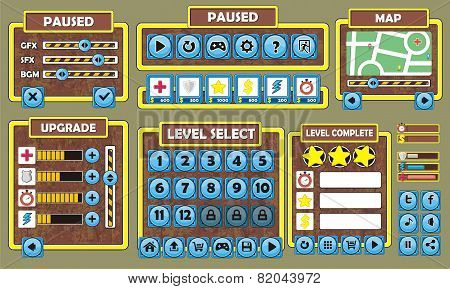 Complete set of graphical user interface (GUI) to build 2D video games poster