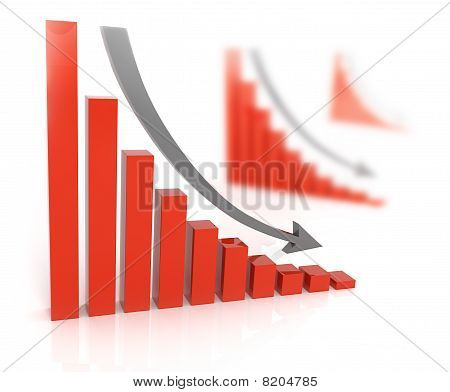 Bad sales . Arrow falling downward