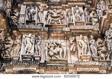 Erotic Human Sculptures at Vishvanatha Temple Western temples of Khajuraho Madhya Pradesh India. Built around 1050 Khajuraho is UNESCO World heritage site and is tourist destination for erotica. poster