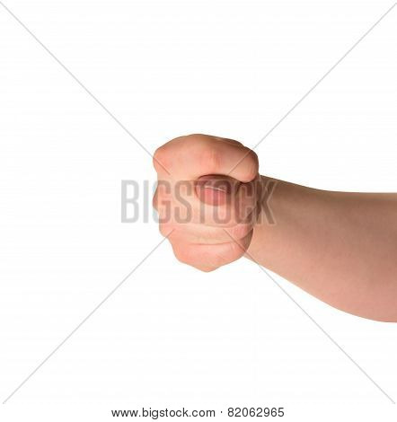 Offensive hand gesture isolated