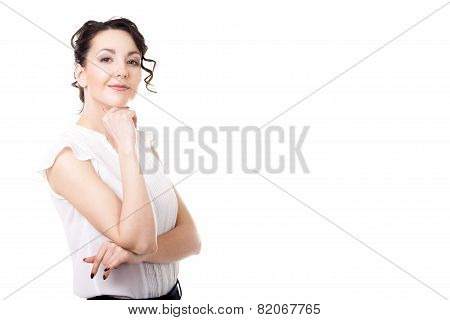 Young Office Woman Business Portrait On White Background