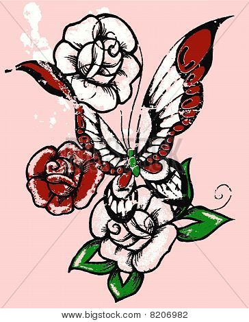 rose and butterfly graphic design