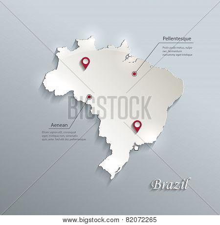 Brazil map blue white card paper 3D vector