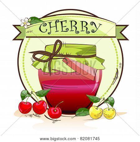 Sweet cherry jam jar