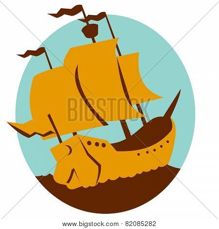 Sailing Ship Galleon Retro