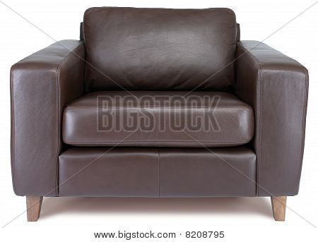 Comfy Brown Leather Armchair On A White Background