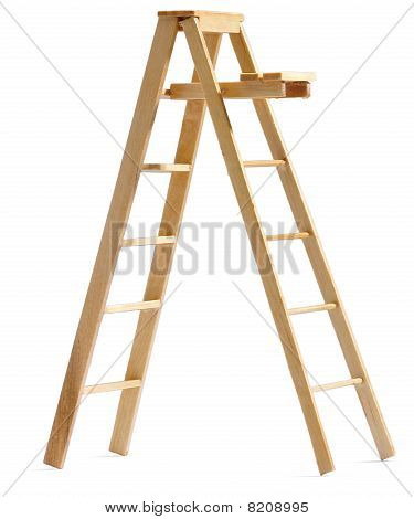 Toy Dolls House Wooden Stepladder On A White Background