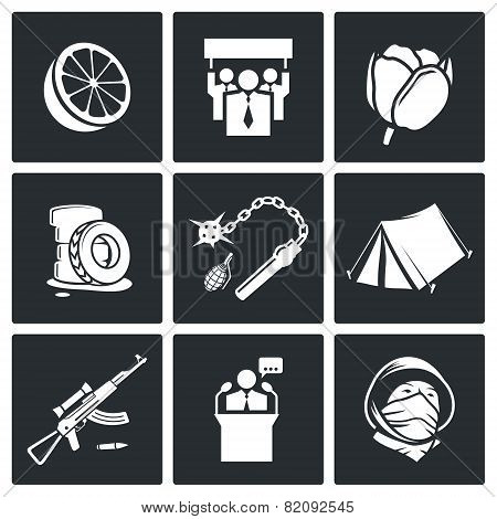 Color Revolutions And Coup Vector Icons Set