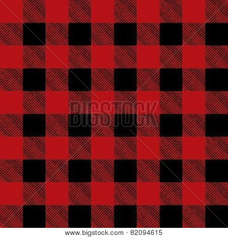 Tiled Red And Black Flannel Pattern Illustration