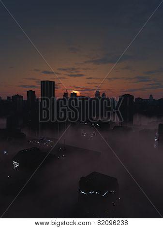 Future City in Misty Sunrise