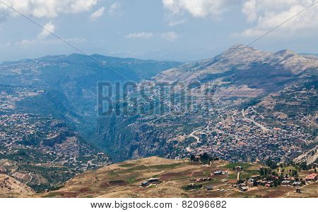 View over town of Bsharri in Qadisha valley Lebanon