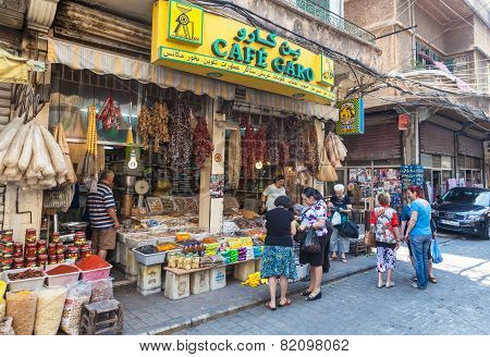 An unidentified locals buying food on a street in Beirut