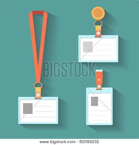 Badge template, name bag holder with lanyard. Vector illustration.