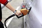 Park car for Fuel filling at gas station poster