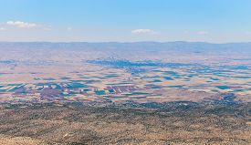 View over Beqaa (Bekaa) Valley and Baalbeck from mountain pass Lebanon