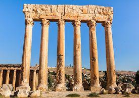 Temple of Jupiter in Baalbek ancient Roman ruins Bekaa Valley of Lebanon