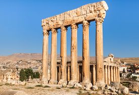 Temple of Jupiter in Baalbek ancient Roman ruins Beqaa Valley of Lebanon.