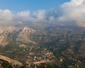View over town of Bsharri in Qadisha valley Lebanon