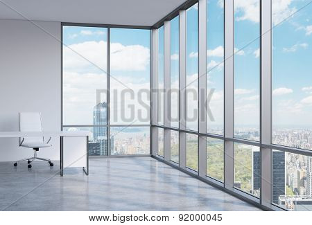 A Workplace In A Modern Corner Panoramic Office In Manhattan, New York. A Concept Of Financial Consu