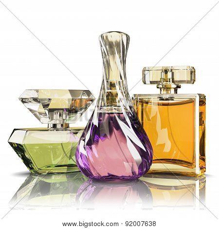 Group Parfume Bottle Isolated