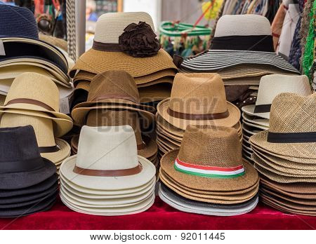 Hats On Display On Market Stall