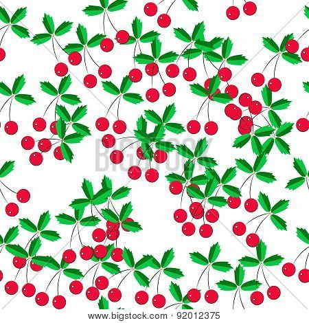 Pattern Of Cherries On A White Background
